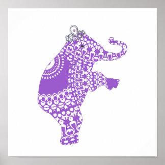 Princesse pourpre mignonne Elephant Baby Nursery Posters