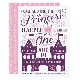 Princesse pourpre Party First Birthday Invitations