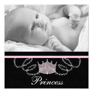 Princesse rose Birth Announcements de filles Carton D'invitation 13,33 Cm