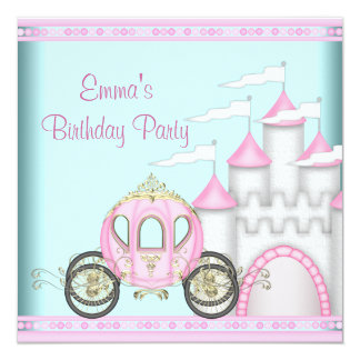 Princesse rose Birthday de filles de château Cartons D'invitation