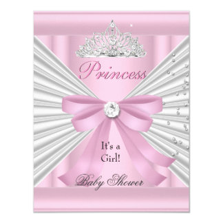 Princesse rose blanche Tiara de fille de baby Carton D'invitation 10,79 Cm X 13,97 Cm