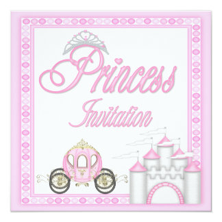 Princesse rose Coach et fête d'anniversaire de Carton D'invitation 13,33 Cm