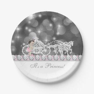 Princesse rose et grise élégante baby shower assiette en papier 17,8 cm