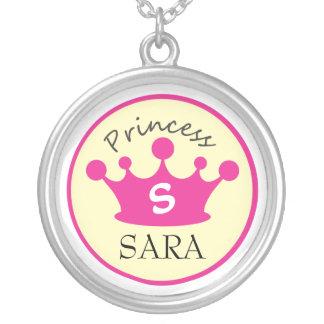 Princesse rose et jaune Necklace de monogramme Pendentif Rond