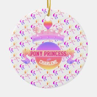 Princesse rose et pourpre de poney ornement rond en céramique