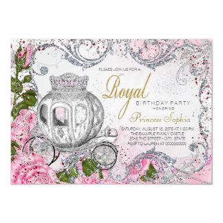 Princesse royale de fête d'anniversaire carton d'invitation  11,43 cm x 15,87 cm