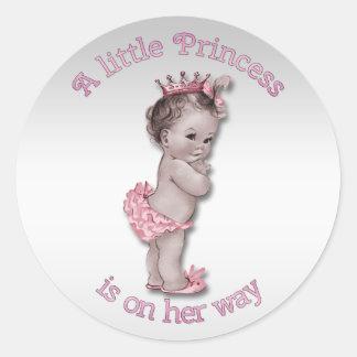 Princesse vintage baby shower autocollant rond