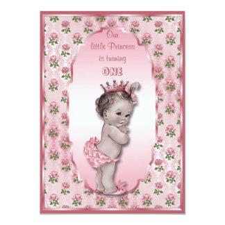 Princesse vintage bébé et anniversaire rose de carton d'invitation  12,7 cm x 17,78 cm