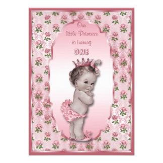 Princesse vintage bébé et anniversaire rose de ros invitations personnalisées