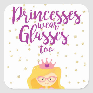 Princesses Wear Glasses Too Stickers