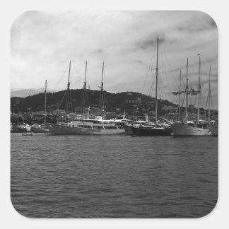 Principauté vintage du Monaco le port 1970 Sticker Carré