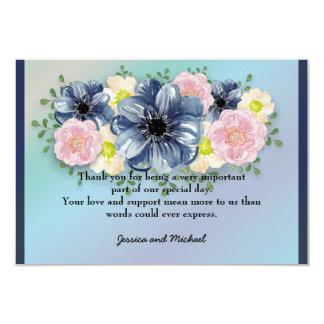 Printemps floral sur le Merci bleu de mariage de Carton D'invitation 8,89 Cm X 12,70 Cm