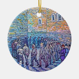 Prisonniers marchant le rond ornement rond en céramique