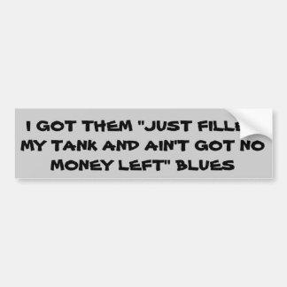 Prix du gaz aucun argent laissé des bleus autocollant pour voiture