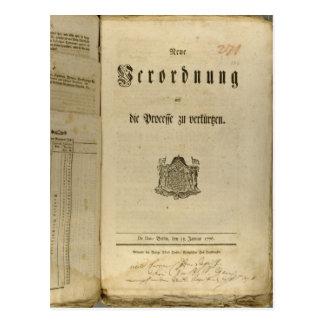 Procédure légale de 1776 carte postale