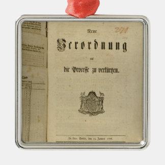 Procédure légale de 1776 ornement carré argenté