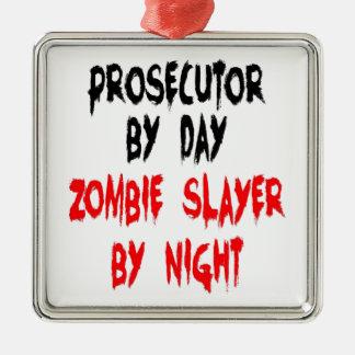 Procureur de tueur de zombi ornement carré argenté