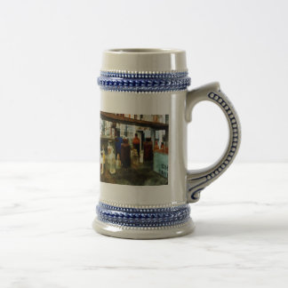 Produits chimiques assortis dans des bouteilles mug à café