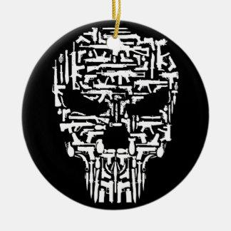 Produits de crâne et d'armes à feu et de couteaux ornement rond en céramique
