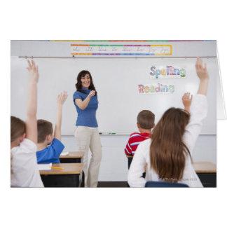 Professeur avec des étudiants carte de vœux