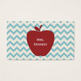 Professeur bleu rouge d'Apple Chevron Cartes De Visite
