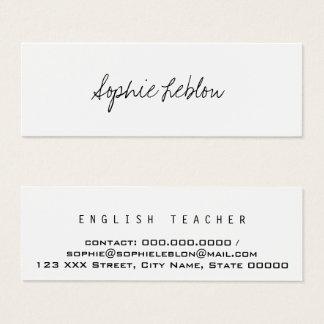 professeur d'Anglais élégant minimaliste Mini Carte De Visite