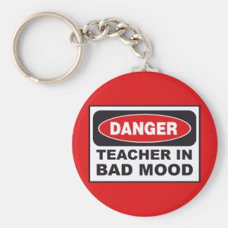 Professeur dans le mauvais porte - clé d'humeur porte-clé rond