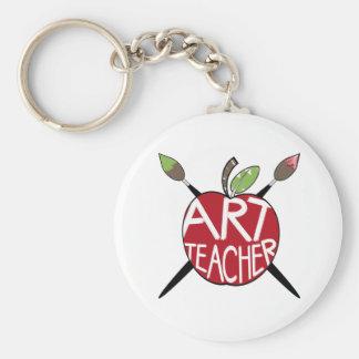 Professeur d'art Apple et pinceaux peints Porte-clés
