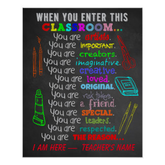 Professeur d'art - quand vous écrivez des règles poster