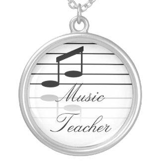 Professeur de musique pendentif rond