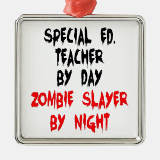 Professeur d'éducation spéciale de tueur de zombi ornement carré argenté