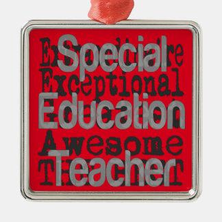 Professeur d'éducation spéciale Extraordinaire Ornement Carré Argenté