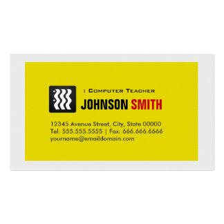 Professeur d'ordinateur - blanc jaune urbain carte de visite standard