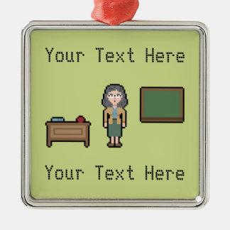 Professeur féminin fait sur commande de pixel ornement carré argenté