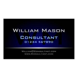 Professionnel bleu noir de monogramme - carte de v carte de visite standard