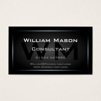 Professionnel de monogramme encadré par noir chic cartes de visite