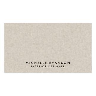 Professionnel Luxe élégant de toile beige de Faux Carte De Visite Standard