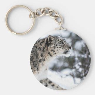 Profil de léopard de neige porte-clé rond