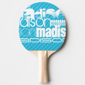 Profil de nom fait sur commande ; Rayures bleues Raquette Tennis De Table
