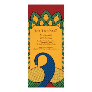 Profil de paon invitation de 4,25 x 9 pouces