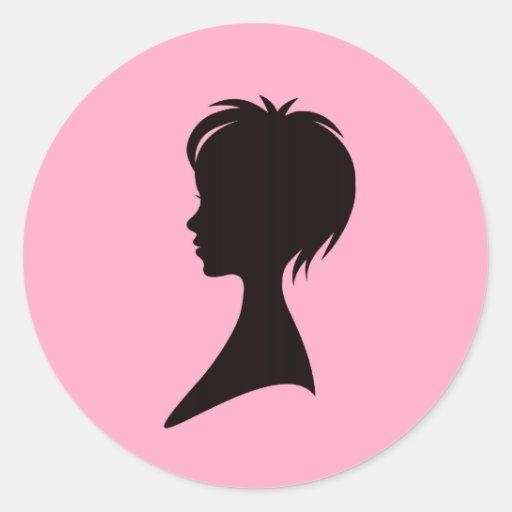 Profil d'une femme avec une coiffure moderne autocollants ronds