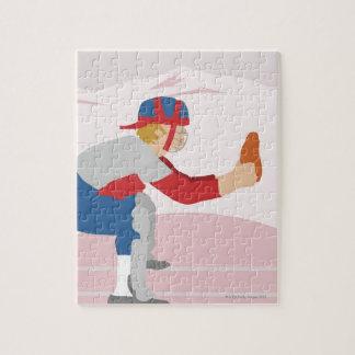 Profil latéral d'un joueur de baseball puzzle