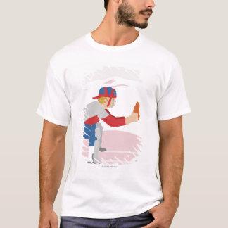 Profil latéral d'un joueur de baseball t-shirt