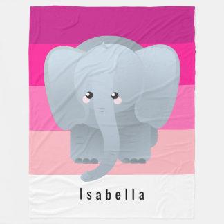 Profonds chauds de monogramme mignon d'éléphant couverture polaire