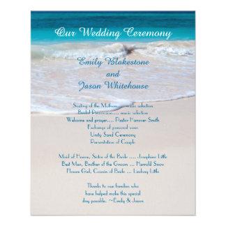 Programme abordable de mariage de voeux côtiers prospectus 11,4 cm x 14,2 cm