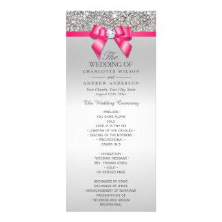 Programme argenté de mariage d'arc de diamant de carte double customisable