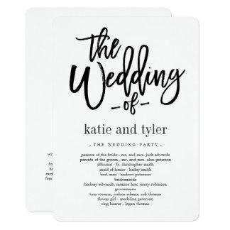 Programme balayé de cérémonie de mariage de charme carton d'invitation  12,7 cm x 17,78 cm
