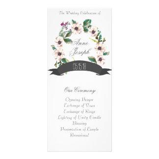 Programme blanc de mariage de fleurs rustiques
