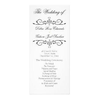 Programme blanc et noir élégant de mariage de doubles cartes