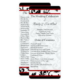 Programme blanc noir rouge de mariage de remous de carton d'invitation  10,16 cm x 23,49 cm